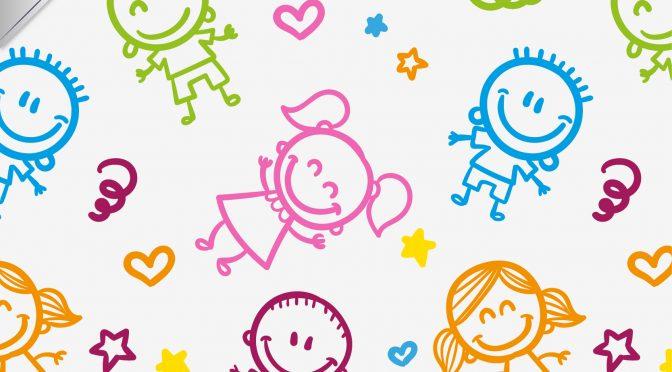 טפט ומוטבעות עליו דמויות צבעוניות של ילדים