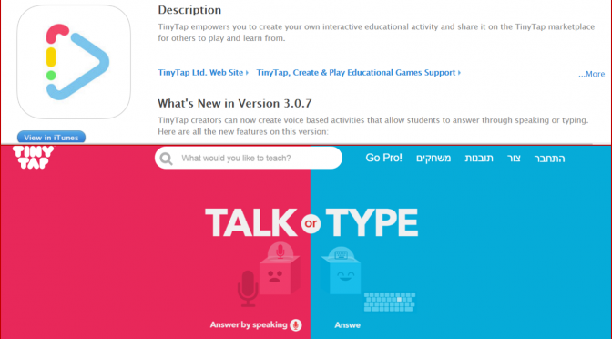 tinytap אפליקציית טייניטאף כפי שמופיעה באפסטור של אפל