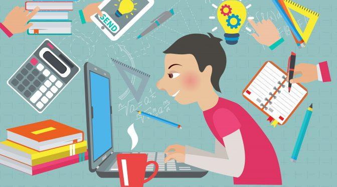 סטודנט לומד מתמטיקה עם מחשב