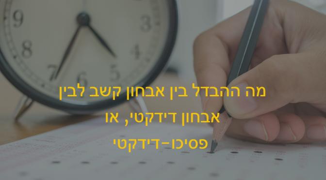 יד כותבת עם עט -כמו מבחן. בצד שעון. כיתוב: מה ההבדלים בין אבחון קשב לבין אבחון דידקטי