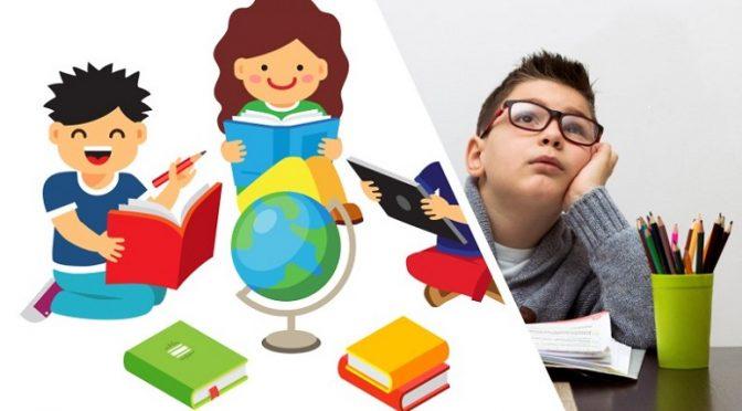 ילד מכין שיעורים ונראה משועמם בצד ילדים יוצרים ושמחים